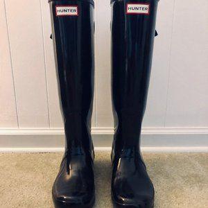 Hunter glossy black tall rain boots